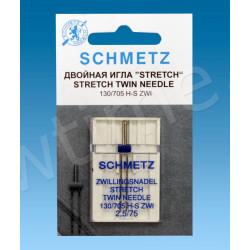 Иглы стретч двойные SCHMETZ 130/705H-S ZWI № 75/2.5, 1 шт.