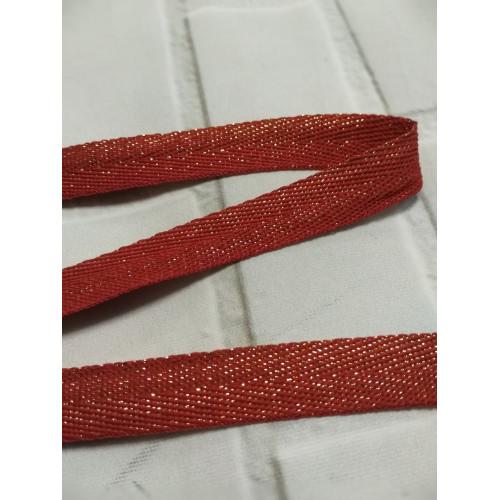 Киперная лента с полиэстером Красный с золотом 13 мм