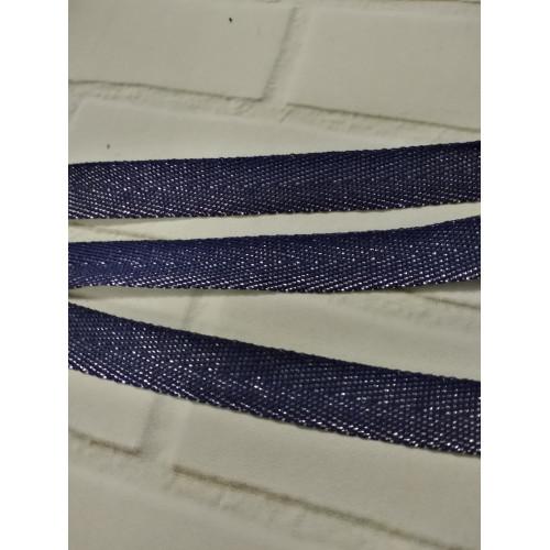 Киперная лента с полиэстером Синий люрекс 13 мм