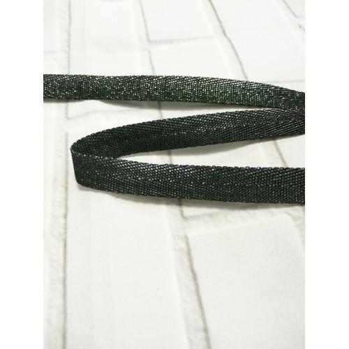 Киперная лента с полиэстером Темно-зеленый люрекс 13 мм