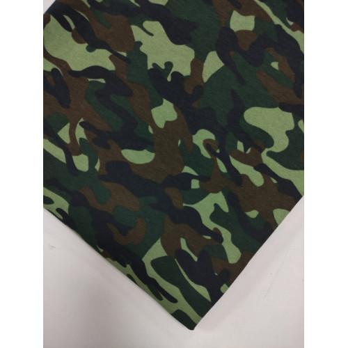 Ткань футер 2 нитка хб начес Камуфляж зеленый