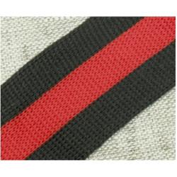 003 Лампас эластичный Черный/красный/черный 40 мм