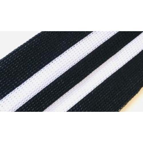 100 Лампас эластичный Белый/черные полосы 50 мм
