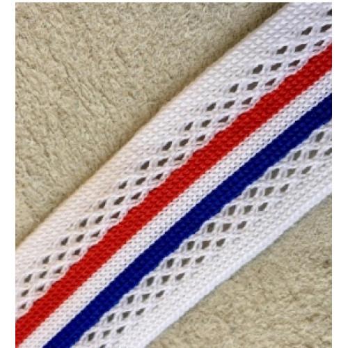 038 Лампас эластичный Белый перфорация/синий/красный 25 мм