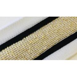 072 Лампас эластичный Белый/черный/золото люрекс 30 мм