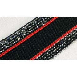 077 Лампас эластичный Черный/красный/серебро люрекс 20 мм