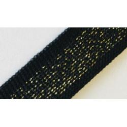 087 Лампас эластичный Черный/золото люрекс 20 мм