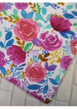 Ткань футер 2 нитка с лайкрой Цветы акварельные яркие