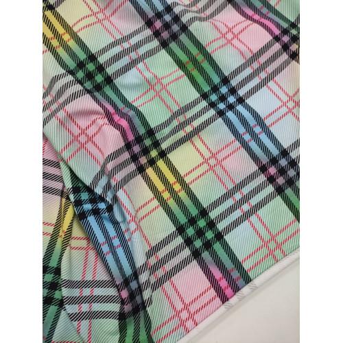 Ткань футер 2 нитка с лайкрой Клетка Зеленый/розовый/голубой