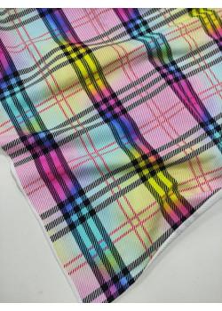 Ткань футер 2 нитка с лайкрой Клетка Желтый/Розовый