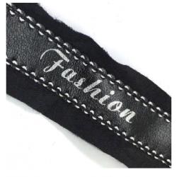 138 Лампас неэластичный черный под кожу белые строчки FASHION 25мм