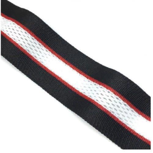 Лампас Черный/красный/белый с перфорацией - 30 мм