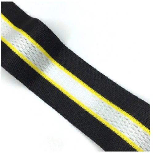 Лампас Черный/желтый/белый с перфорацией - 30 мм
