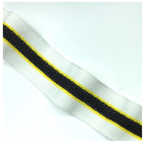 Лампас Белый/желтый/черный с перфорацией - 30 мм