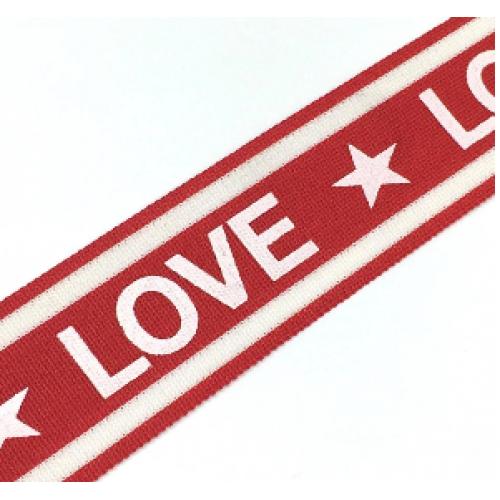 Лампас красный/белый LOVE 38мм