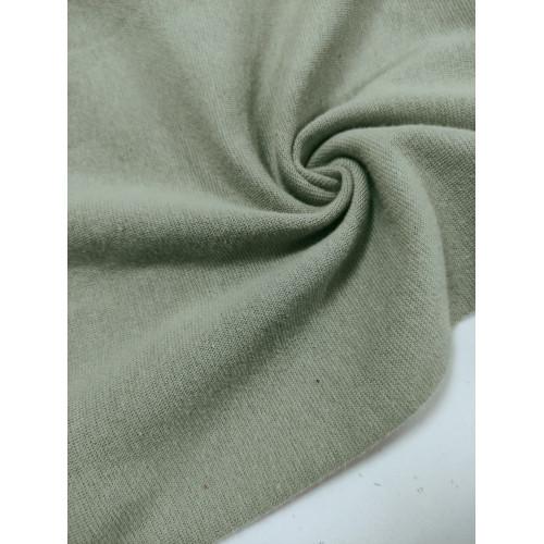 Ткань рибана с лайкрой Серо-зеленый Велюр эффект